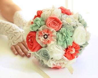 Bridal bouquet, custom color wedding bouquet, mint coral bouquet