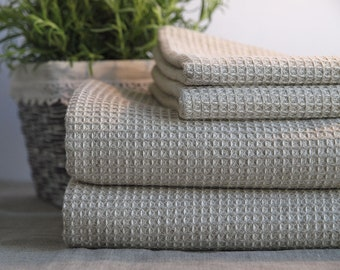 SALE. Pure Linen Bath Towels. Grey. Set of 4. 2 Hand towels + 2 Bath Sheet.