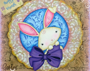 E PATTERN - Bunny Wreath! Sweet Bunny with Large Bow and Lacey Wreath - Designed & Painted by Sharon Bond - FAAP