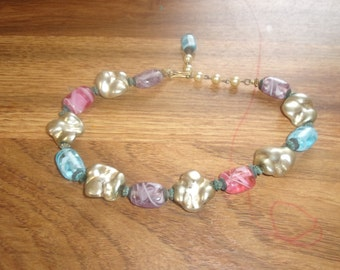 vintage necklace choker glass lucite beads colorful