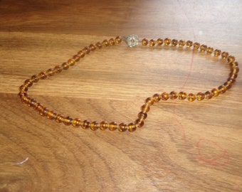 vintage necklace amber glass beads