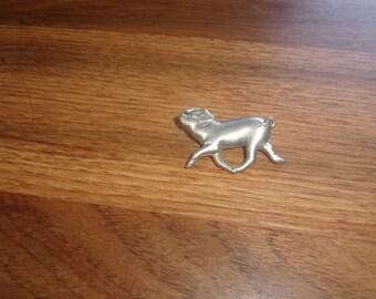 vintage pin brooch silvertone pig