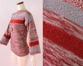 Vintage 60s Jantzen - Rust Red Orange & Gray Striped Space Knit - Quarter Length Bell Sleeve - Fitted Boat Neck Sweater