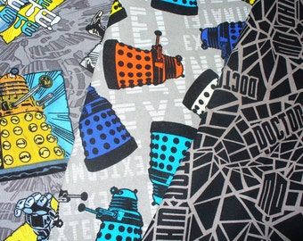 Doctor Who Fabric, Dr Who Fabrics, 3 Fat quarters, Tardis Fabric, Cybermen Fabric, BBC Series, Police Box, Time Travel, Science Fiction