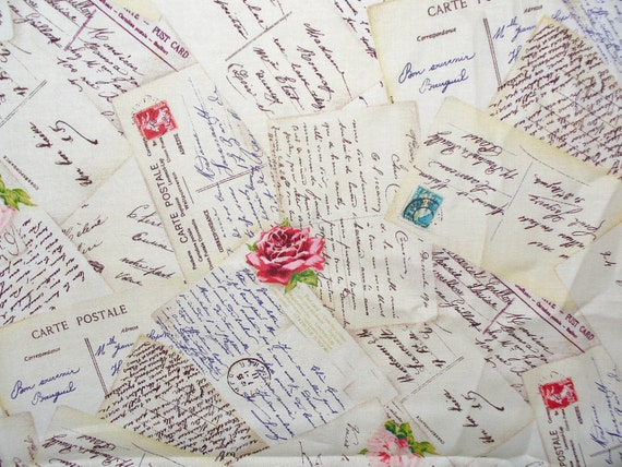 excellent french script fabric by the yard. Love Letters Fabric  Michael Miller French Post and Roses Romantic By the Yard Cotton from trinketsintheattic on