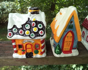 Vintage Holiday Village by JSNY Taiwan Authentic Ceramic Porcelain Four Pieces General Store Church Candy House Toy Land