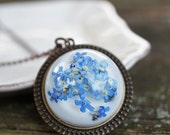 Blue 'Forget me not' Flower necklace - Glass dome pendant with chain, hemisphere - real pressed flower, botanical jewelry, gift under 50