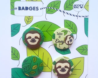 Sloth Badges/Buttons/Pins 4 pack