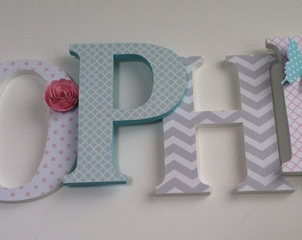 Wooden  letters for nursery in pink,white,aqua blue