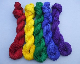 Soft Socks Mini Skeins 4 ply Yarn. Rainbow