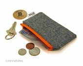 Men's Mini Orange Zip Pouch by MinneBites / Extra Small Handmade Zip Wallet - Card Holder - Guys Card Case - Card Coin Pouch - Ready to Ship