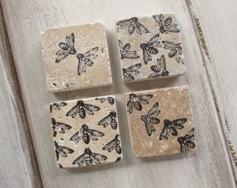 Natural stone magnets  Honey Bee magnets.  Set of Four.  Gift.