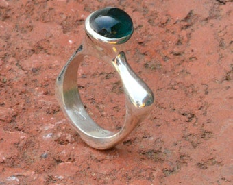Sterling silver sculptural ring with cabochon tourmaline
