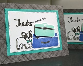 Pet Sitting Thank You Card, Card for Pet Sitter, Dog Sitter Thank You Note, Dog Walker Card, French Bulldog Card