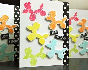 Dog Balloon Birthday Card, Dog Lover Gift, Rainbow Birthday Card, Dog Birthday Card, Child Birthday Card, Balloon Animal Card