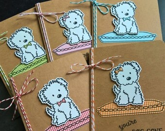 Dog Cards Set of 5, Dog Lover Cards, Dog Birthday Cards, White Fluffy Dog, Sheepdog Thank You Notes, Dog Gift