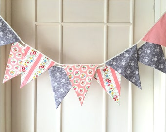 Shabby Chic Fabric Banners, Wedding Bunting, Pennents, Coral, Peach and Grey Shade - 3 yards