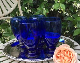 Cobalt blue tumblers, Cobalt blue glassware, Cobalt blue barware, cobalt blue drinking glasses