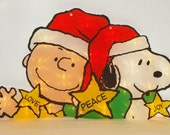 "PEANUTS Charlie Brown and Snoopy Love Peace Joy 19"" In/Out Lighted Sculpture"