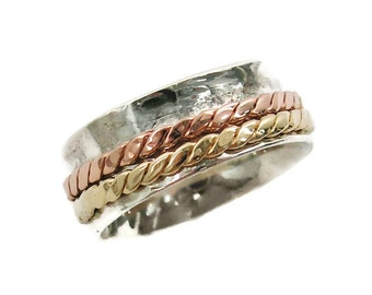 Pinky ring. Spinner ring. Braided ring. Silver gold spinner ring. Braided spinner ring. sterling silver ring. Wide spinner ring (565-296)