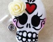 Sugar Skull Dia De Los Muertos badge reel