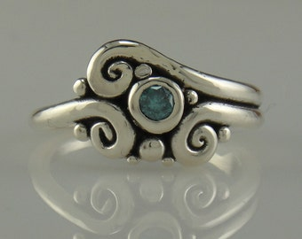 Sterling Silver Blue Diamond Ring- One of a Kind