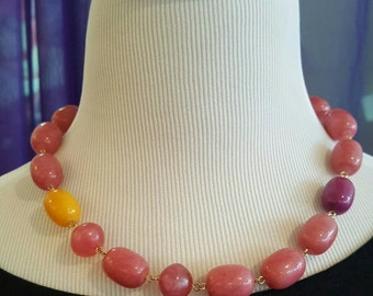 Pink Stone Statement Necklace with Vintage Lucite Beads