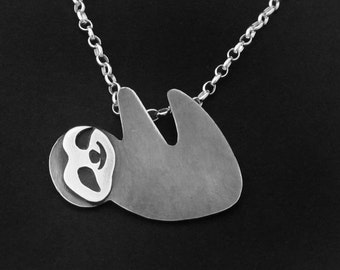 Sloth Necklace - Silver Hanging Sloth Jewelry - Costa Rica - Wild Animal Lover Gift - Slow Down Wildlife Jewelry