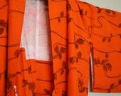 Orange kimono jacket in silk