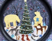 Folk Art Christmas Wood Plate - MADE TO ORDER - Hand Painted Primitive Wooden Plate-Winter Forest Christmas Tree Polar Bear Raccoon Fox Wolf