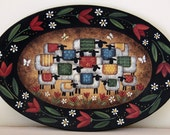 Folk Art Painting Wood Plate in Primitive Colors - MADE TO ORDER - Oval Wood Plate Sheep, Lambs, Butterflies, Flowers, Spring Easter, Tulips