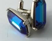 Vintage Blue Rhinestone Cuff Links. Faceted Modernist Cufflinks. Blue cufflinks. Formal Wear. Wedding . No.002015