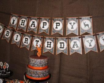 Camo Boy Hunting Banner Birthday Party  PRINTABLE Happy Birthday BANNER  camouflage orange realtree DIY Instant Download