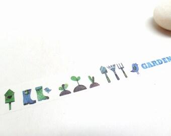 Garden Washi Tape, Birds Washi Tape, Bird House, Seedlings, Gardening Tools