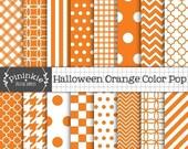60% OFF SALE Orange Digital Paper, Halloween Scrapbooking Paper, Diagonal Stripe, Polka Dots, Chevrons, Checks, Houndstooth, Quatrefoils, Gi