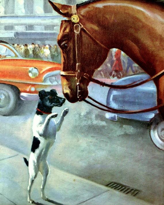 Fox Terrier and Horse Vintage Dog Print Artist Wesley Dennis Children's Book Illustration Original Wall Decor