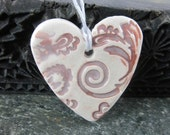Dark Red and White Brocade Heart Ornament