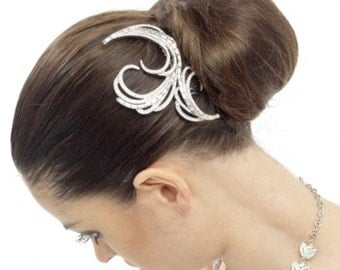 Bridal hair comb.  Crystal Hair Comb.  Art Nouveau / Deco hairpiece.  Wedding, prom, party hair comb