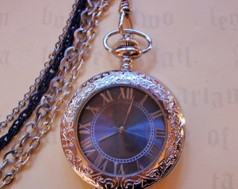 Stunning Silver & Blue Pocket Watch, deluxe mechanical wind-up, OOAK, with multi-strand single albert chain