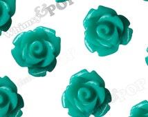 Teal Rose Cabochons, Flower Cabochons, 10mm Rose Cabochons, Flat Back Roses, 10mm x 6mm (R1-067)
