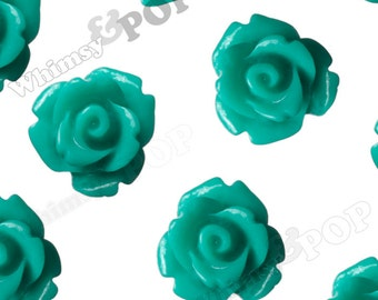 Teal Rose Cabochons, Flower Cabochons, Flower Cabs, 10mm Rose Cabochons, Flat Back Roses, 10mm x 6mm (R1-067)