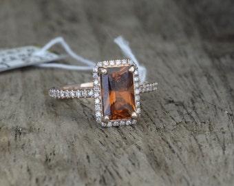 CERTIFIED  2.2 carat untreated natural spessartite garnet, 14k gold, diamonds halo engagement ring  Joan-004-orange