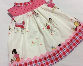 American Girl, Waldorf doll clothes, sweet print with dolls
