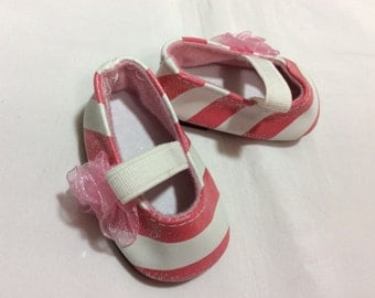 "Pink and white stripe sparkle flats, doll shoes, fits 18"" like American Girl, doll clothes"