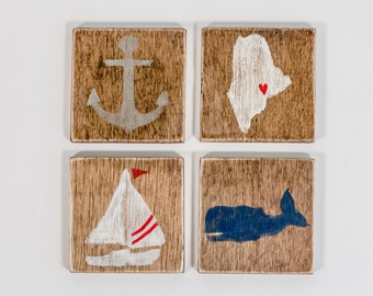Wooden Nautical Coasters, Nantucket Stain, Whale, Sailboat, Anchor, State