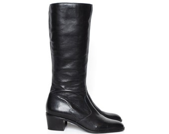 Black Leather Knee High Flat, Low Heel Boots, Size 8.5