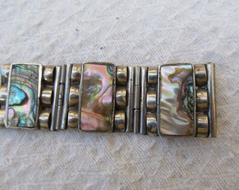 Vintage Mexican Silver Abalone Hand Made Bracelet