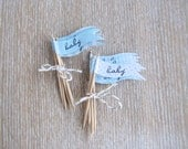 Baby Cupcake Flags boy baby shower cupcake flags blue cupcake toppers