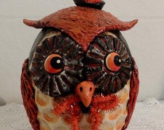 Primitive Vintage Style Halloween Folk Art Owl ooak EHAG HAFAIR