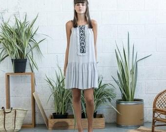 Embroidered Midi Dress, Grey Midi Dress, Peplum Tank dress